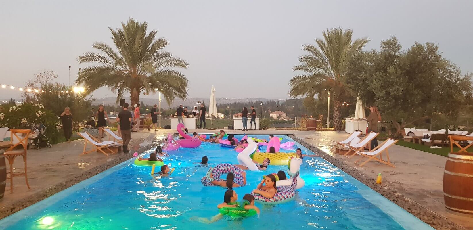 חגיגת בת מצווה בטבע בבריכה